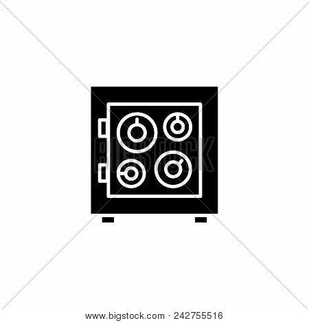 Safe Box Black Icon Concept. Safe Box Flat  Vector Website Sign, Symbol, Illustration.