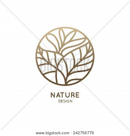 Tropical Plant Logo. Round Emblem Flower In A Circle N Linear Style. Vector Abstract Badge For Desig