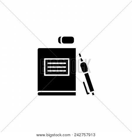 School Supplies Black Icon Concept. School Supplies Flat  Vector Website Sign, Symbol, Illustration.