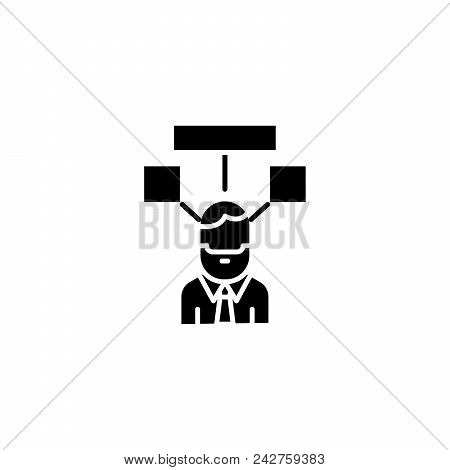 Sharing Ideas Black Icon Concept. Sharing Ideas Flat  Vector Website Sign, Symbol, Illustration.