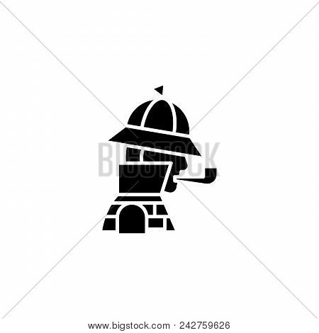 Sherlock Holmes Black Icon Concept. Sherlock Holmes Flat  Vector Website Sign, Symbol, Illustration.