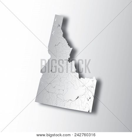 U.s. States - Map Of Idaho With Paper Cut Effect. Hand Made. Rivers And Lakes Are Shown. Please Look