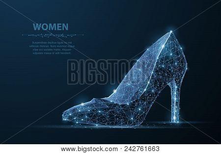 Isolated Vector Woman Shoe. Abstract Polygonal Female High Heel Shoe Illustration On Dark Blue Backg