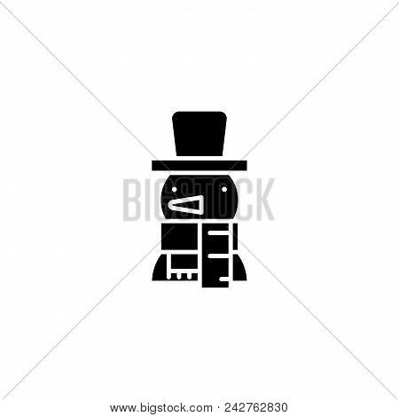 Snowman Black Icon Concept. Snowman Flat  Vector Website Sign, Symbol, Illustration.