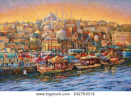 Artwork.  Istanbul. Golden Horn Bay. Author: Nikolay Sivenkov.