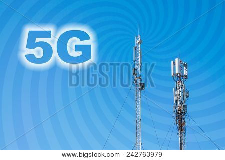 5g Network Connection Concept. Micro Cell 3g, 4g, 5g Mobile Phone Base Station Against A Blue Sky Wi