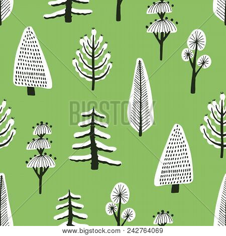 Seamless Pattern With Different Hand Drawn Winter Trees Covered By Snow On Green Background. Backdro