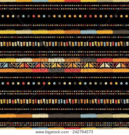 Handmade Colored Stripes Bright Tribal Seamless Pattern Look Like Carpet. Boarder Pattern. Tribal Pa