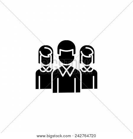Staff Black Icon Concept. Staff Flat  Vector Website Sign, Symbol, Illustration.