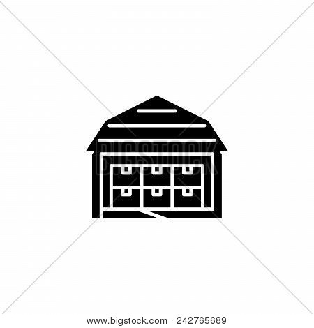 Storehouse Black Icon Concept. Storehouse Flat  Vector Website Sign, Symbol, Illustration.