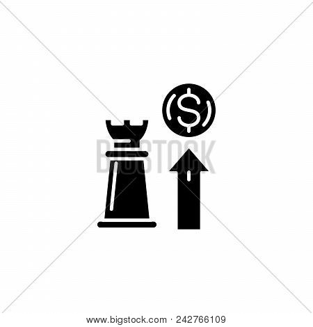 Strategy Of Growth Black Icon Concept. Strategy Of Growth Flat  Vector Website Sign, Symbol, Illustr