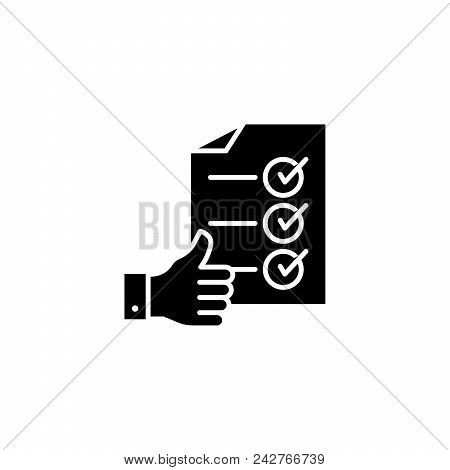 Successful Completion Black Icon Concept. Successful Completion Flat  Vector Website Sign, Symbol, I