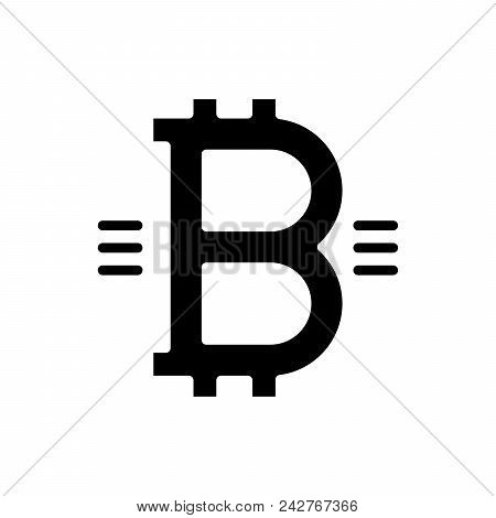 Symbol Of Bitcoin Black Icon Concept. Symbol Of Bitcoin Flat  Vector Website Sign, Symbol, Illustrat