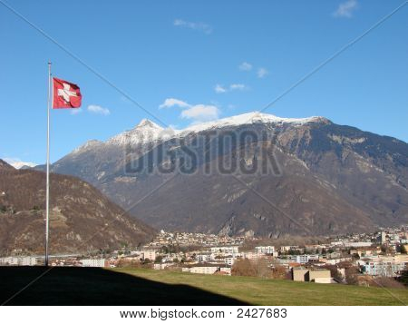 Bellinzona And Swiss Flag