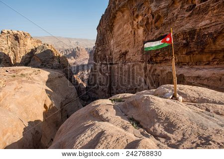 The Flag Of Jordan In Petra