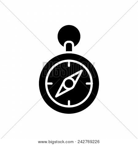 Terrain Compass Orientation Black Icon Concept. Terrain Compass Orientation Flat  Vector Website Sig