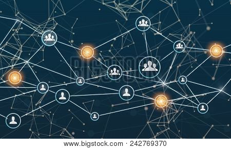 Linking Entities. Networking, Social Media, Sns, Internet Communication. Small Network Connected To