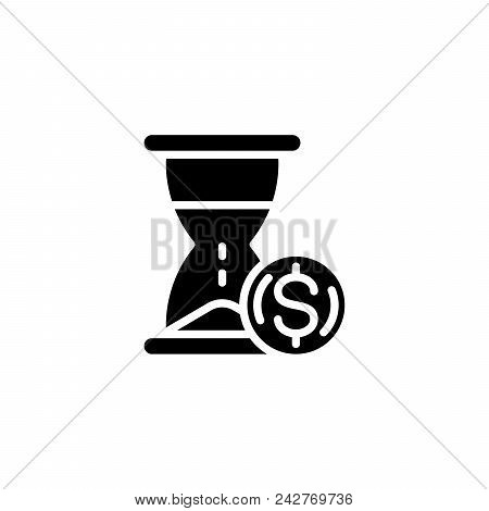 Time Is Money Black Icon Concept. Time Is Money Flat  Vector Website Sign, Symbol, Illustration.