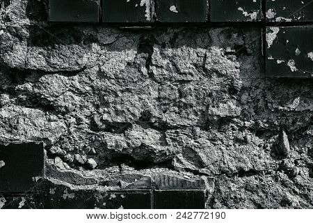Weathered Concrete Wall Monochrome Texture. Frame Of Old Tiles With Peeling Paint. Dark Grunge Backg