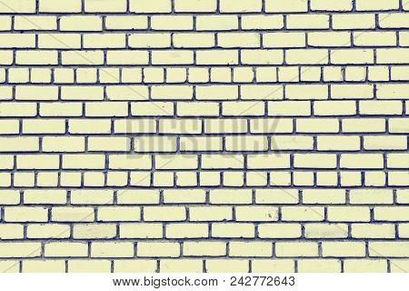 White Brick Wall. Old Light Brickwork Texture. Urban Background, Retro Toning