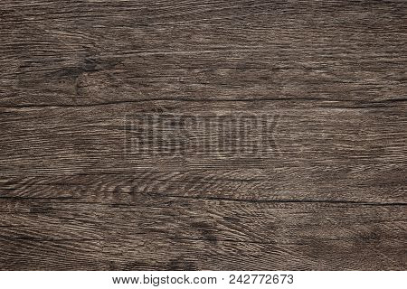 Wooden Table Texture, Detailed Close-up. Dark Brown Wood Background