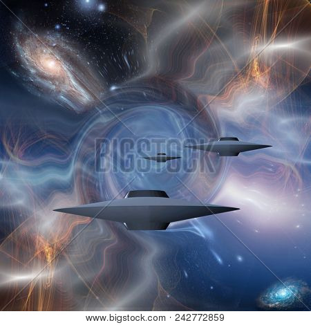 Surreal digital art. Flying saucers in warped space. 3D rendering