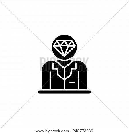 Valuable Staff Black Icon Concept. Valuable Staff Flat  Vector Website Sign, Symbol, Illustration.
