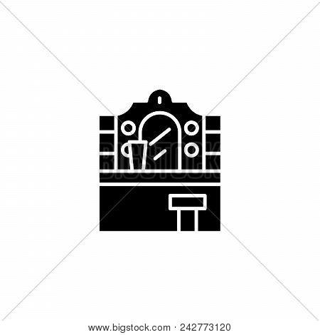 Vanity Table Black Icon Concept. Vanity Table Flat  Vector Website Sign, Symbol, Illustration.
