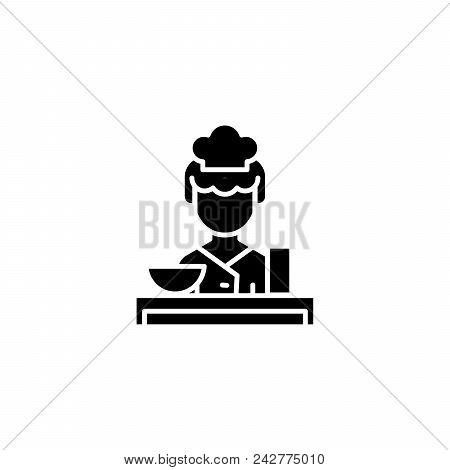 Waitress Black Icon Concept. Waitress Flat  Vector Website Sign, Symbol, Illustration.
