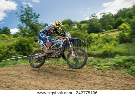 Lviv, Ukraine - May 20 2018:  Open Cup Of Lviv On The Motocross Track Mayorovka. Unknown Motorcycle