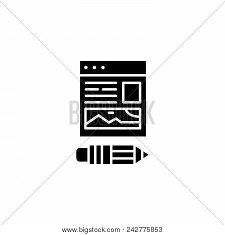 Web Design Site Black Icon Concept. Web Design Site Flat  Vector Website Sign, Symbol, Illustration.