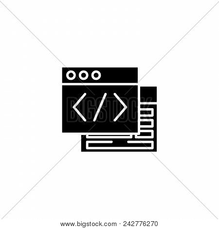 Webpage Source Black Icon Concept. Webpage Source Flat  Vector Website Sign, Symbol, Illustration.