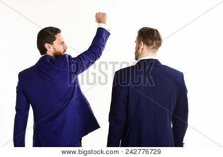 Business And Success Concept. Man In Suit Or Winner Raise Fist Near Business Partner, Rear View. Bus