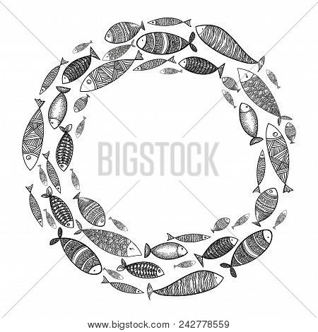 School Of Fish. A Group Of Stylized Fish Swimming In A Circle. Black And White Fish For Children Wit
