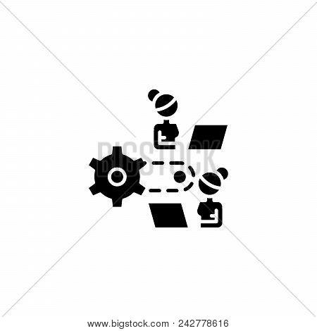 Work Process Black Icon Concept. Work Process Flat  Vector Website Sign, Symbol, Illustration.