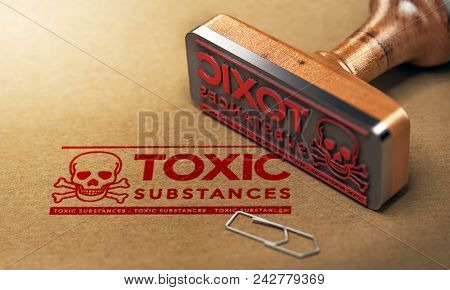 3d Illustration Of A Rubber Stamp With The Text Toxic Substances Stamped On Paper Background