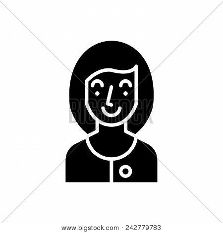 Young Woman Black Icon Concept. Young Woman Flat  Vector Website Sign, Symbol, Illustration.