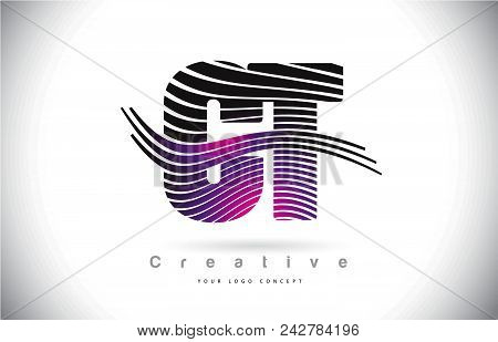 Ct C T Zebra Texture Letter Logo Design With Creative Lines And Swosh In Purple Magenta Color Vector