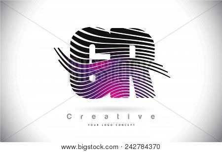 Gr G R Zebra Texture Letter Logo Design With Creative Lines And Swosh In Purple Magenta Color Vector