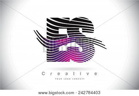 Es E S Zebra Texture Letter Logo Design With Creative Lines And Swosh In Purple Magenta Color Vector