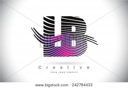 Lb L B Zebra Texture Letter Logo Design With Creative Lines And Swosh In Purple Magenta Color Vector