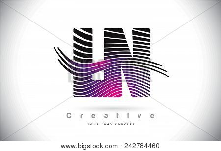 Ln L N Zebra Texture Letter Logo Design With Creative Lines And Swosh In Purple Magenta Color Vector