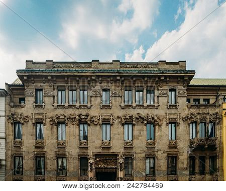 Milan, Italy - May 24, 2018: Palazzo Castiglioni Is An Art Nouveau Palace Of Milan, Northern Italy.