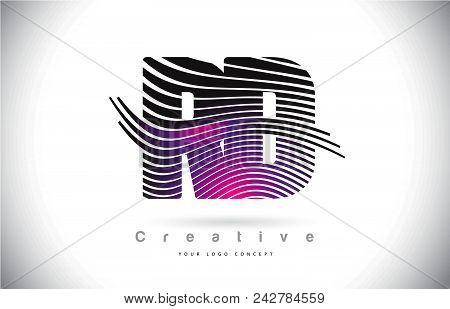 Rd R D Zebra Texture Letter Logo Design With Creative Lines And Swosh In Purple Magenta Color Vector