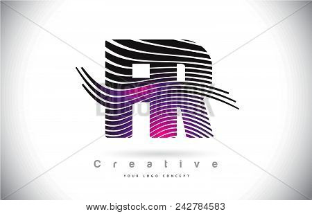 Fr F R Zebra Texture Letter Logo Design With Creative Lines And Swosh In Purple Magenta Color Vector