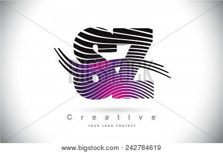 Sz S Z Zebra Texture Letter Logo Design With Creative Lines And Swosh In Purple Magenta Color Vector