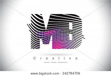 Md M D Zebra Texture Letter Logo Design With Creative Lines And Swosh In Purple Magenta Color Vector