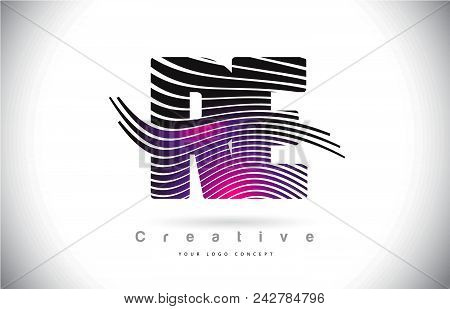 Re R E Zebra Texture Letter Logo Design With Creative Lines And Swosh In Purple Magenta Color Vector