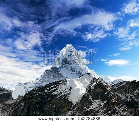 Mount Ama Dablam Within Clouds, Way To Everest Base Camp, Khumbu Valley, Solukhumbu Sagarmatha Natio