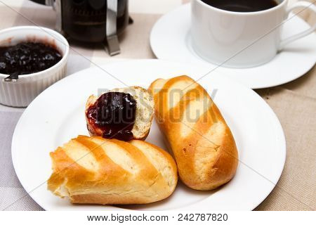 Brioche Rolls And Coffee A French Breakfast Of Brioche Rolls And Coffee